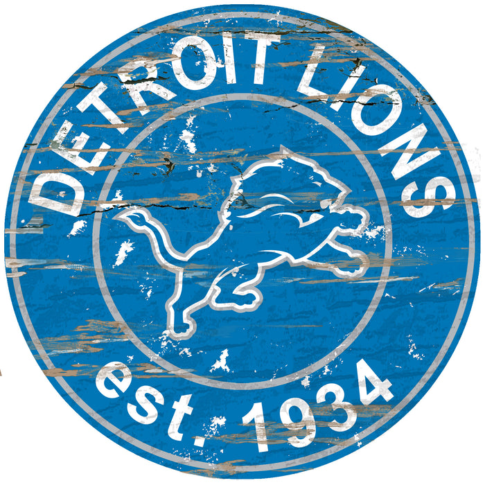 "Detroit Lions Distressed 24"" Round Sign - Fan Cave Rugs"