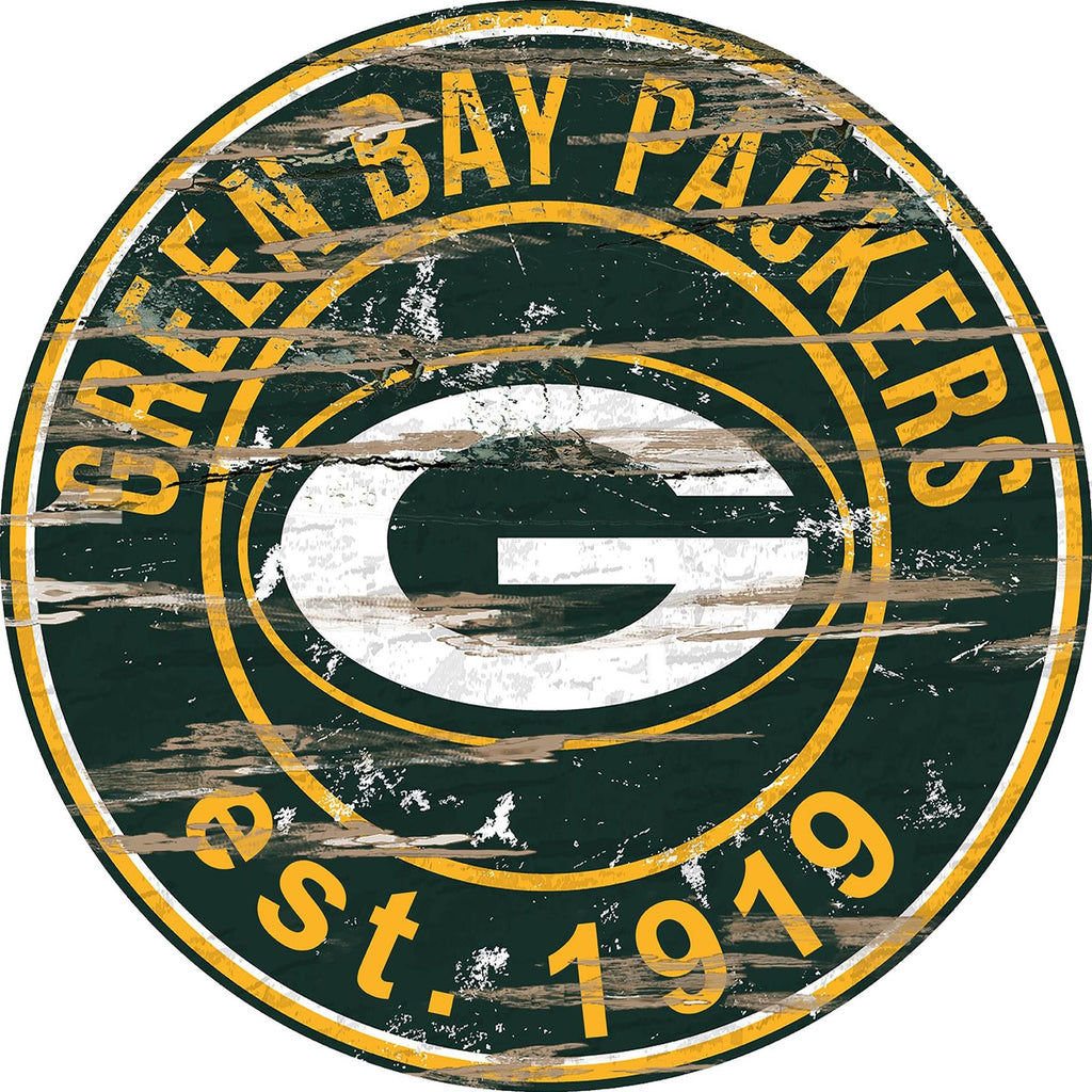 "Green Bay Packers Distressed 24"" Round Sign"