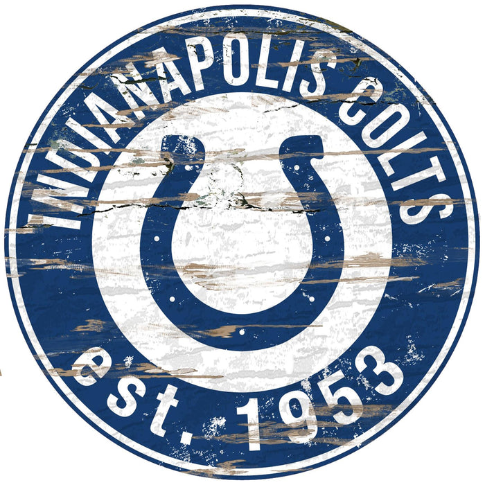 "Indianapolis Colts Distressed 24"" Round Sign"