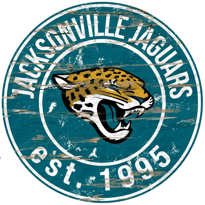"Jacksonville Jaguars Distressed 24"" Round Sign"