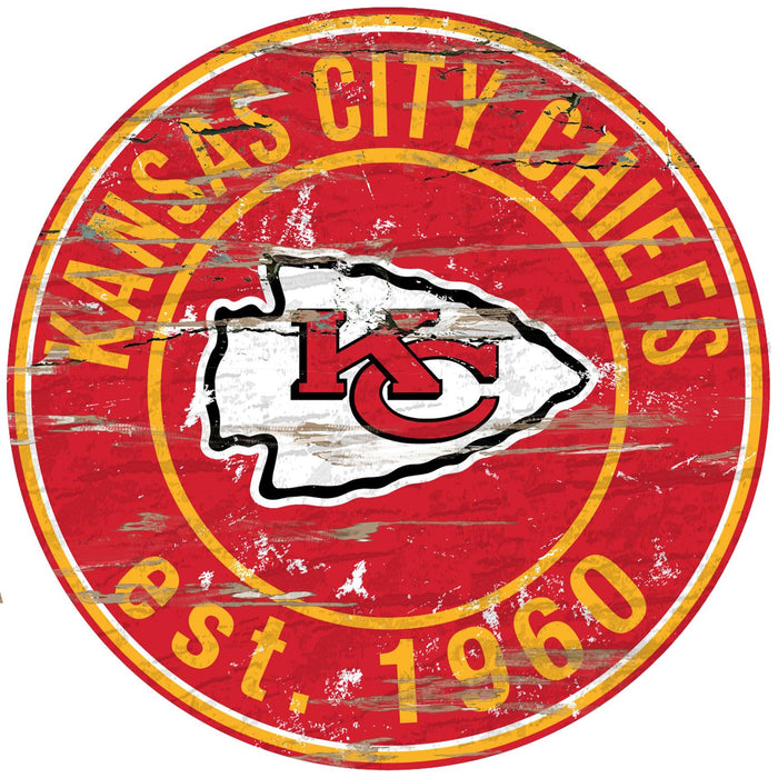"Kansas City Chiefs Distressed 24"" Round Sign"