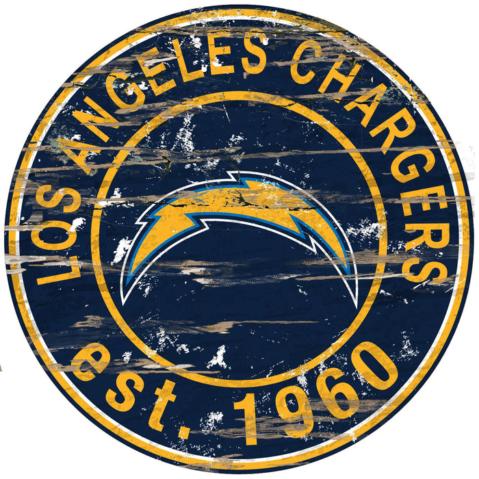 "Los Angeles Chargers Distressed 24"" Round Sign"