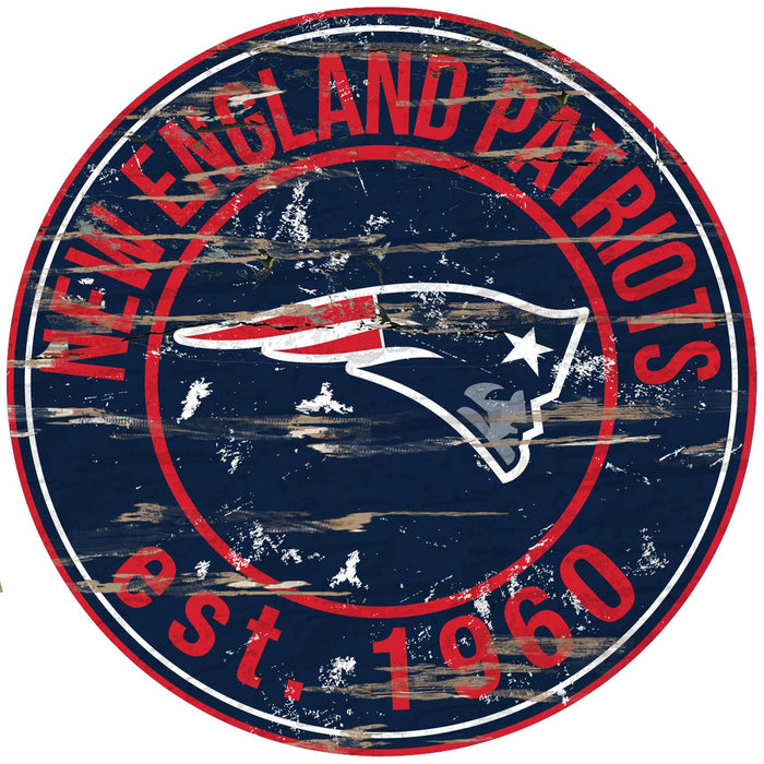 "New England Patriots Distressed 24"" Round Sign"