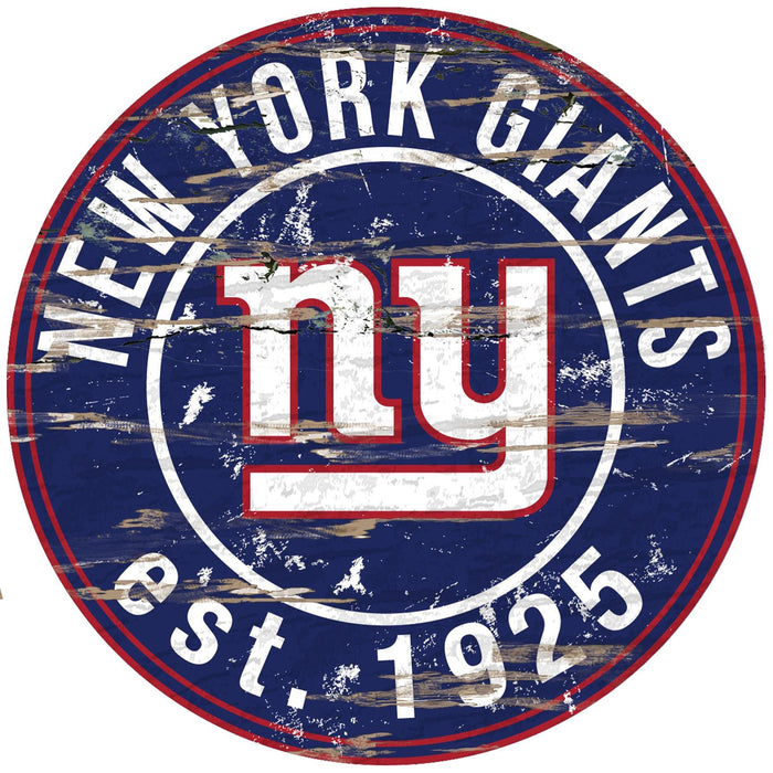 "New York Giants Distressed 24"" Round Sign"