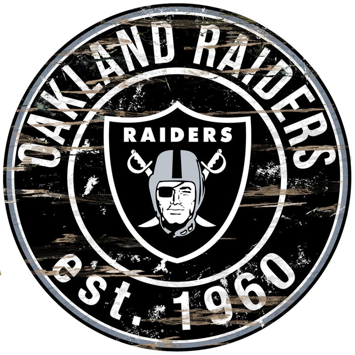 "Oakland Raiders Distressed 24"" Round Sign"
