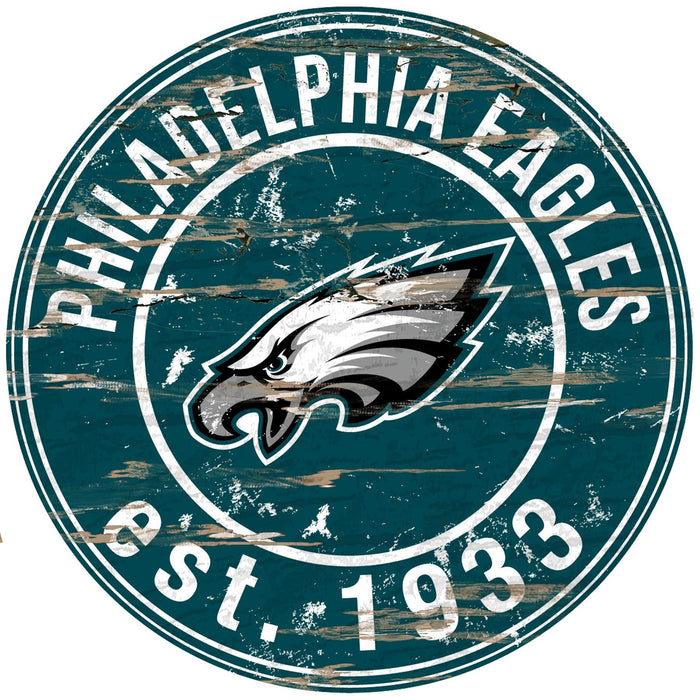 "Philadelphia Eagles Distressed 24"" Round Sign"