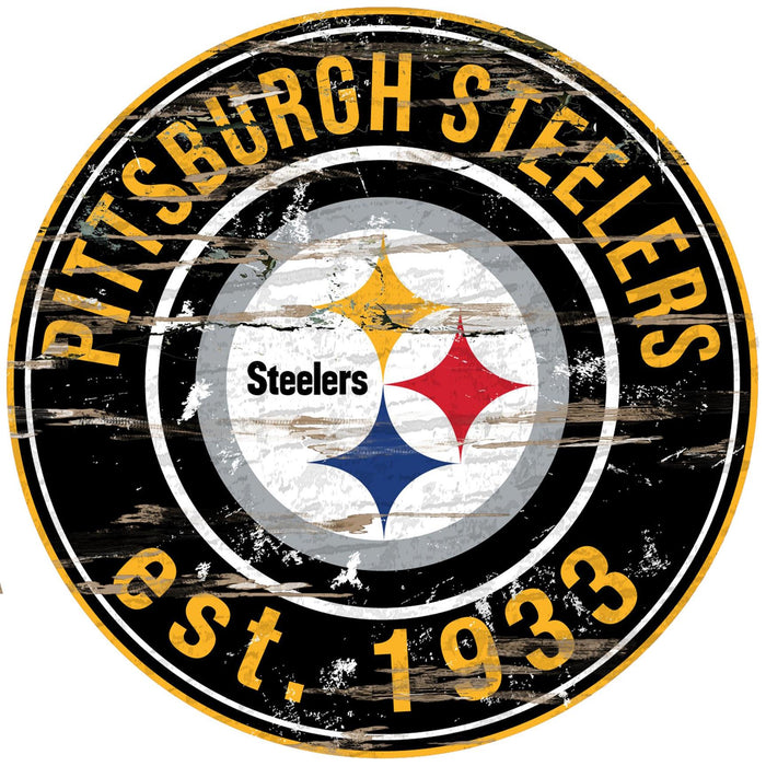 "Pittsburgh Steelers Distressed 24"" Round Sign"