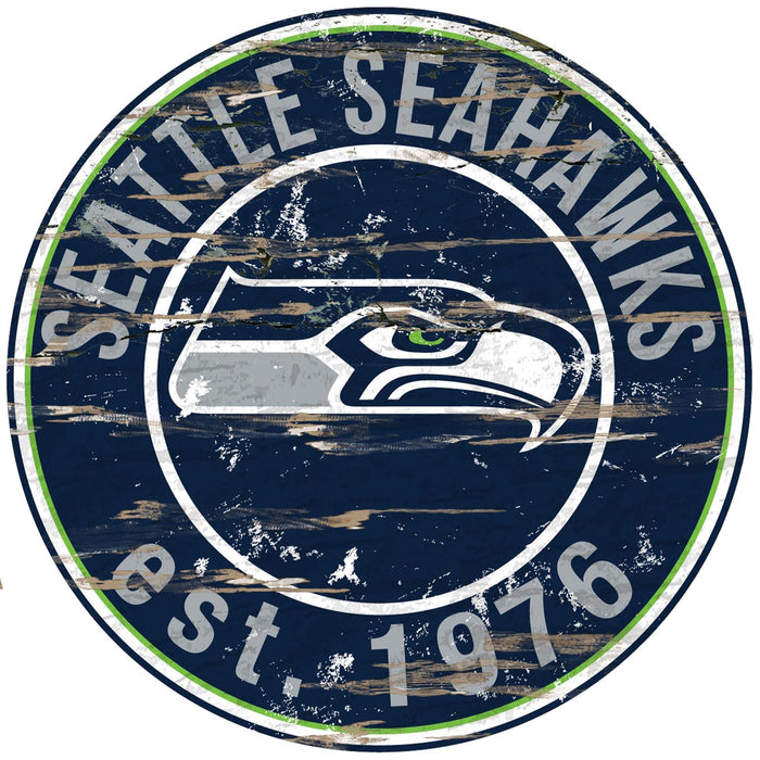 "Seattle Seahawks Distressed 24"" Round Sign"