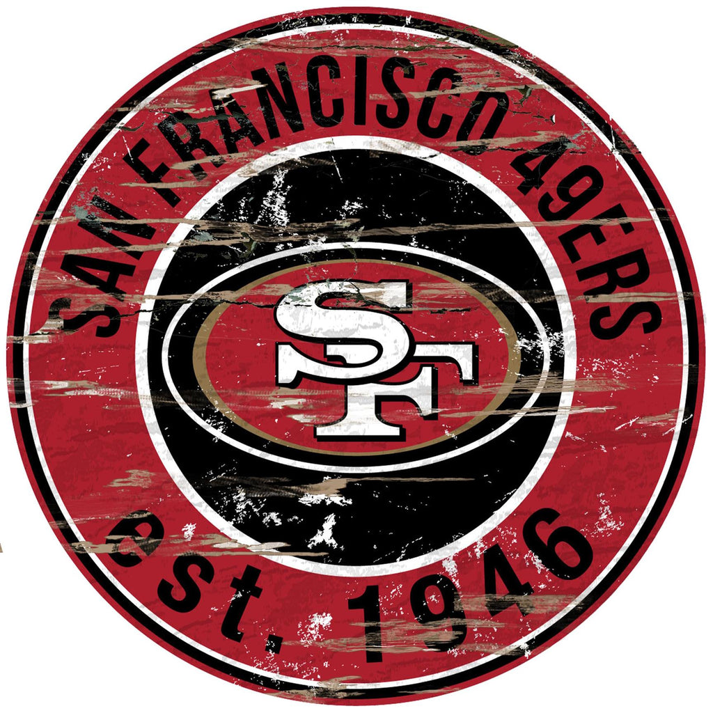 "San Francisco 49ers Distressed 24"" Round Sign"
