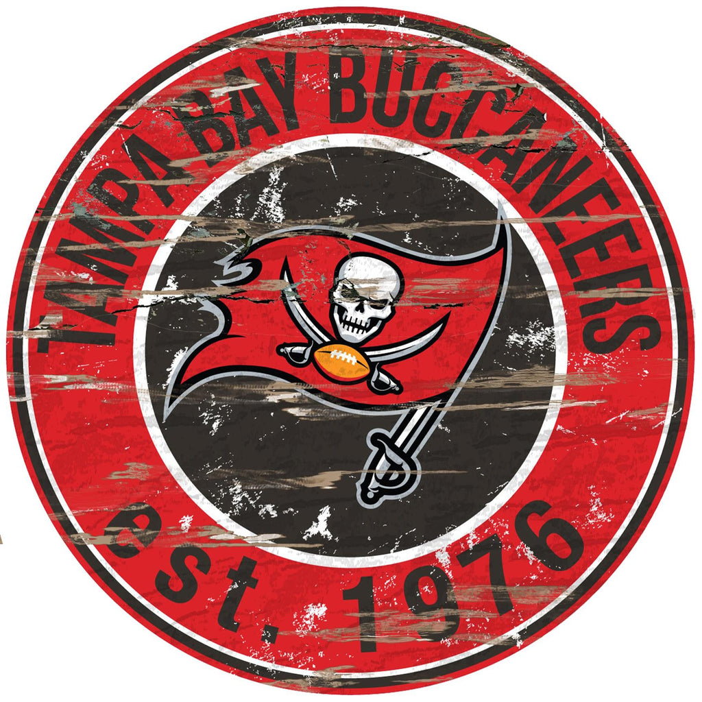 "Tampa Bay Buccaneers Distressed 24"" Round Sign"