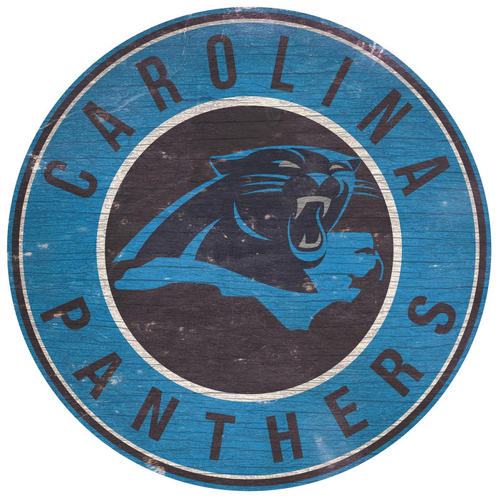"Fan Cave Rugs:Carolina Panthers State with Logo 24"" Round Sign"