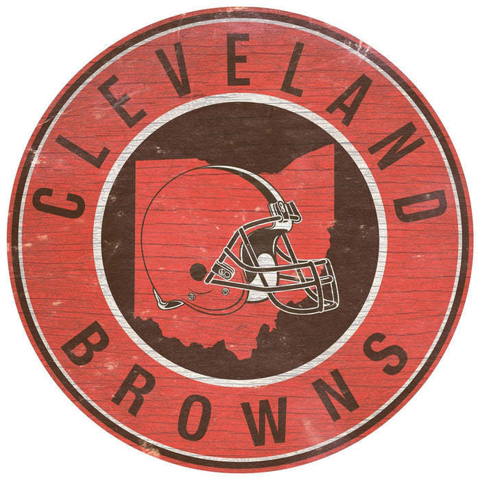 "Fan Cave Rugs:Cleveland Browns State with Logo 24"" Round Sign"