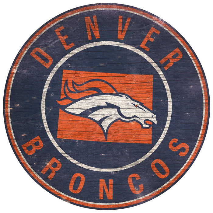 "Fan Cave Rugs:Denver Broncos State with Logo 24"" Round Sign"