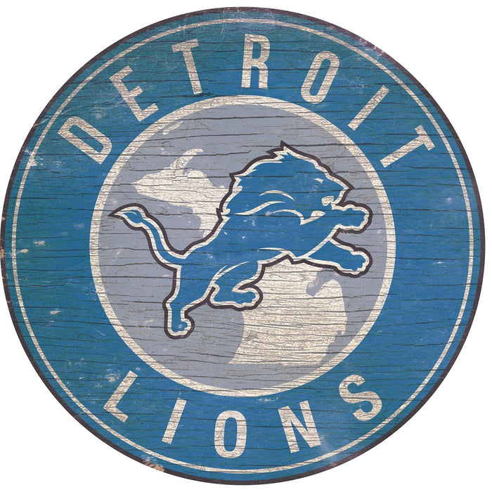 "Detroit Lions State with Logo 24"" Round Sign"
