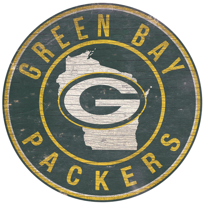 "Green Bay Packers State with Logo 24"" Round Sign"