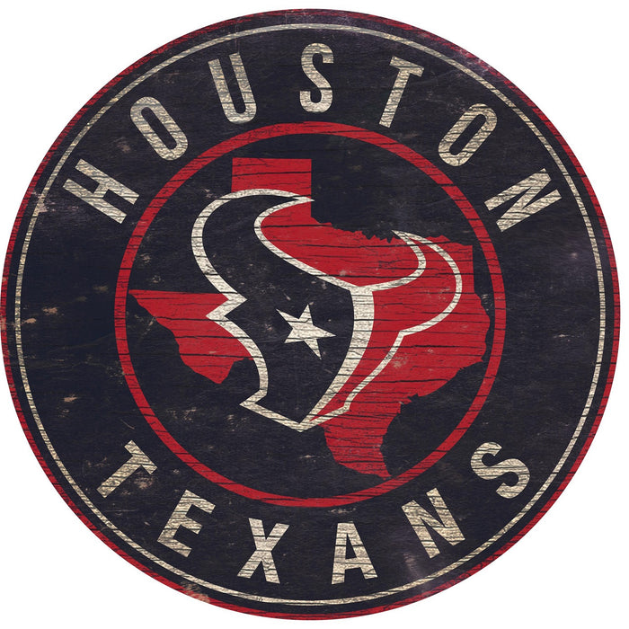 "Houston Texans State with Logo 24"" Round Sign"