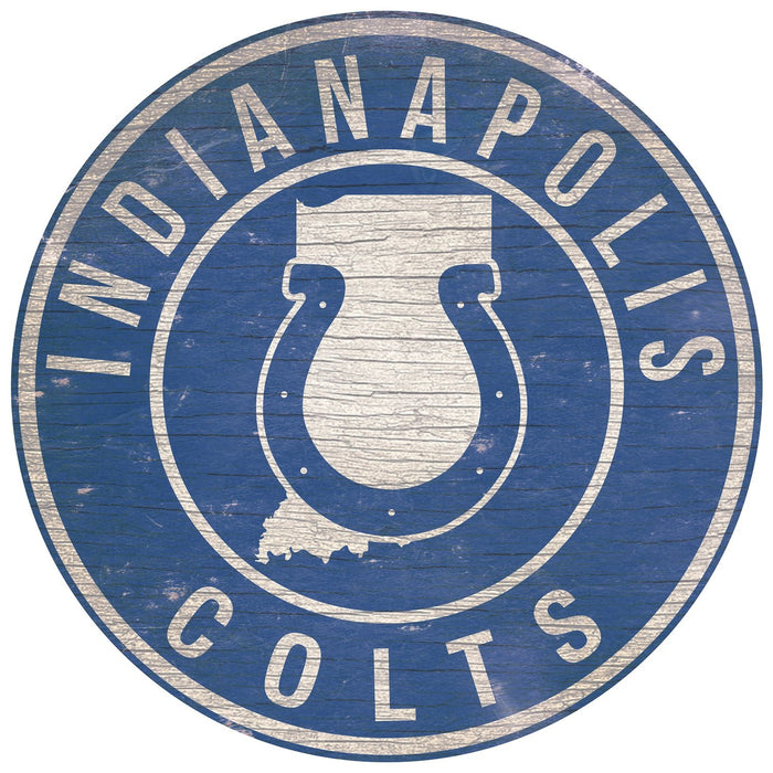"Indianapolis Colts State with Logo 24"" Round Sign"