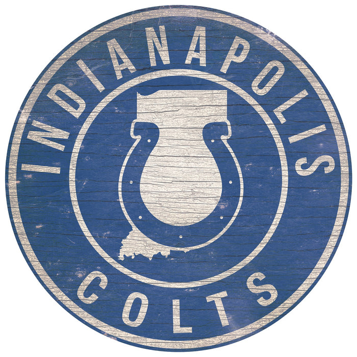 "Indinapolis Colts State with Logo 24"" Round Sign"