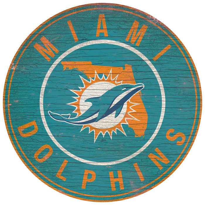 "Miami Dolphins State with Logo 24"" Round Sign"