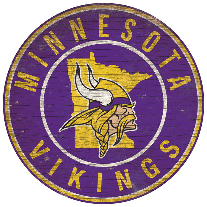 "Minnesota Vikings State with Logo 24"" Round Sign"