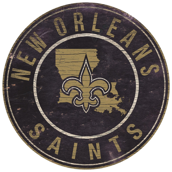 "New Orleans Saints State with Logo 24"" Round Sign"