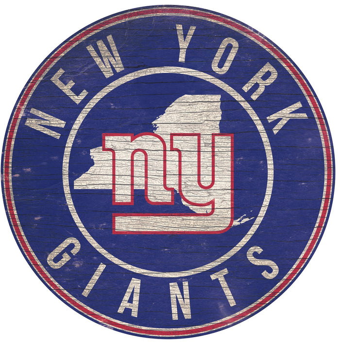 "New York Giants State with Logo 24"" Round Sign"