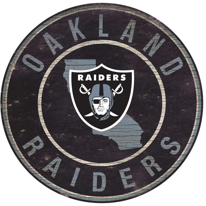 "Oakland Raiders State with Logo 24"" Round Sign"