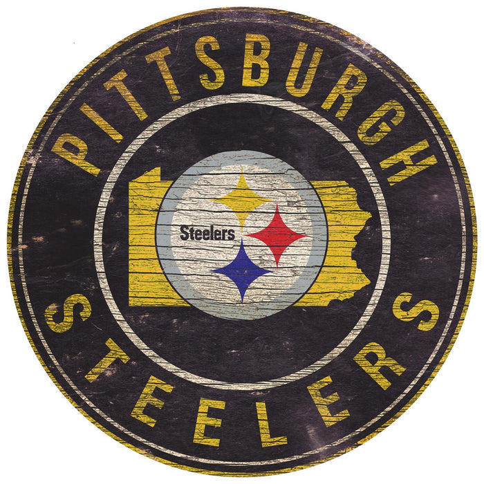 "Pittsburgh Steelers State with Logo 24"" Round Sign"