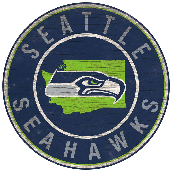 "Seattle Seahawks State with Logo 24"" Round Sign"