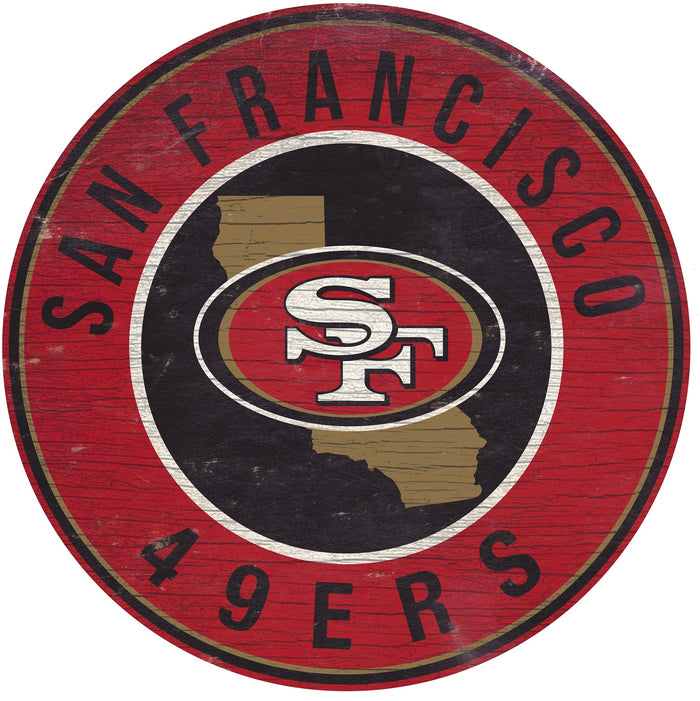 "San Francisco 49ers State with Logo 24"" Round Sign"