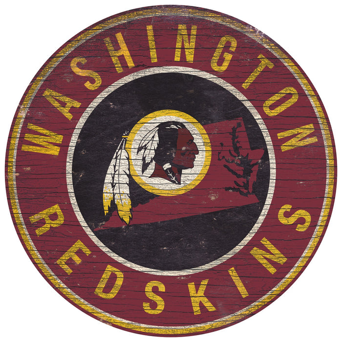 "Washington Redskins State with Logo 24"" Round Sign"