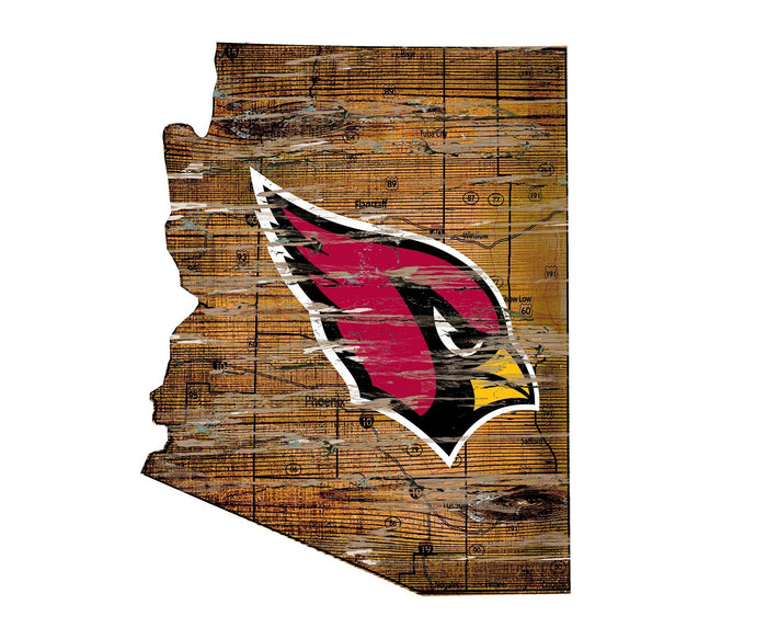 "Arizona Cardinals Distressed State with Logo 24"" Wall Art - Fan Cave Rugs"