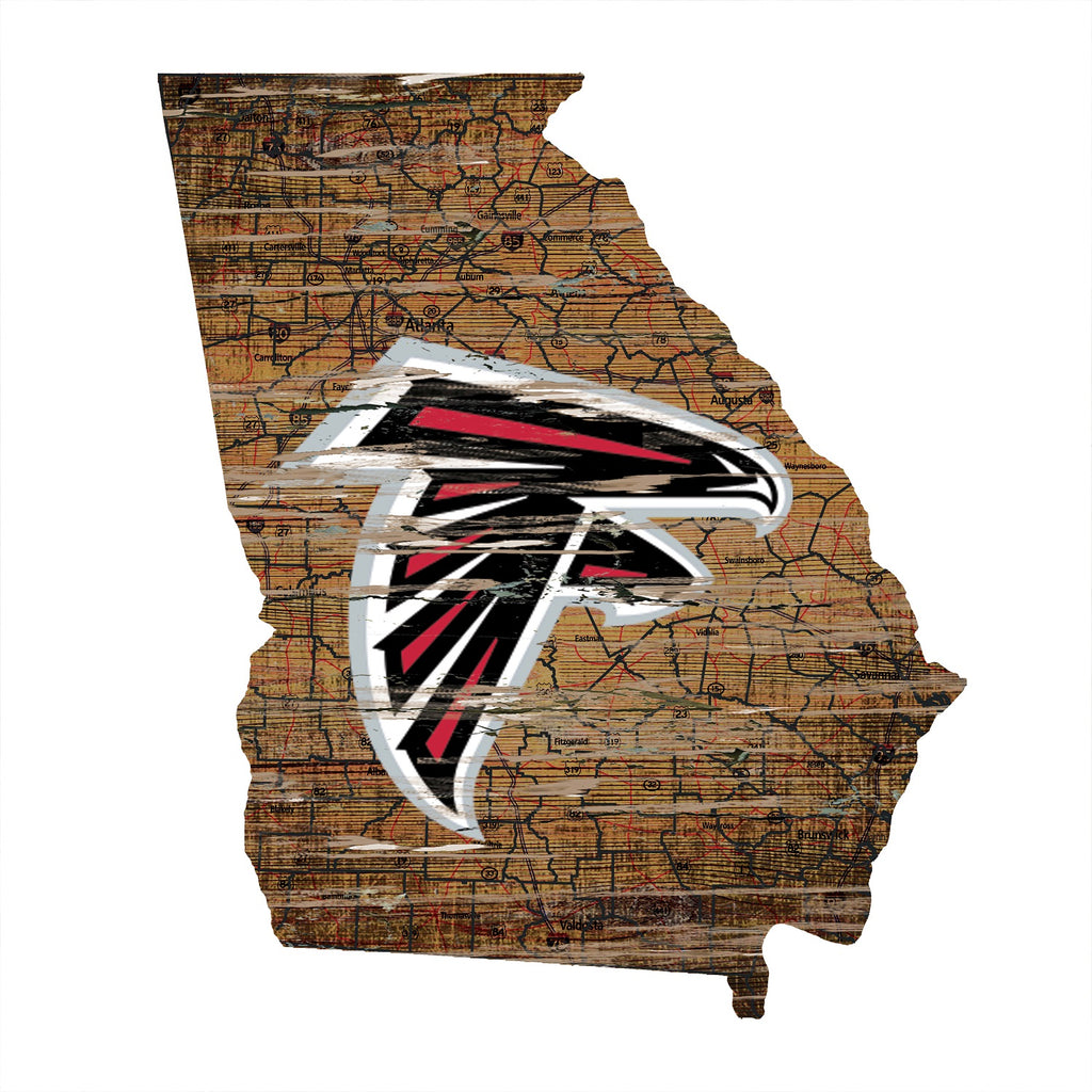"Atlanta Falcons Distressed State with Logo 24"" Wall Art"