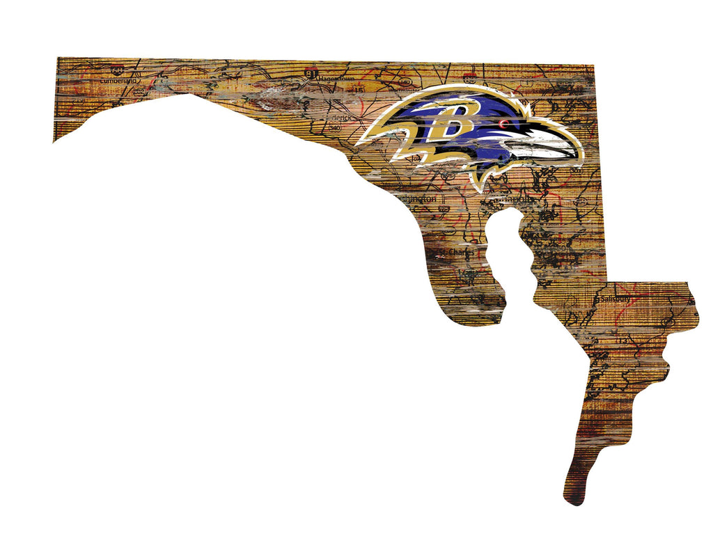 "Baltimore Ravens Distressed State with Logo 24"" Wall Art"