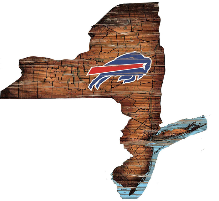 "Fan Cave Rugs:Buffalo Bills Distressed State with Logo 24"" Wall Art"