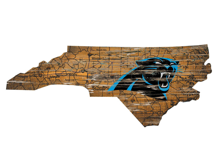 "Fan Cave Rugs:Carolina Panthers Distressed State with Logo 24"" Wall Art"