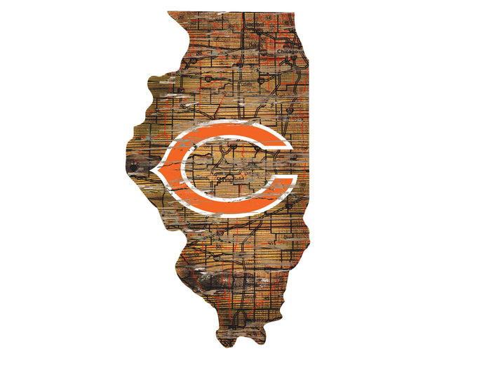 "Fan Cave Rugs:Chicago Bears Distressed State with Logo 24"" Wall Art"