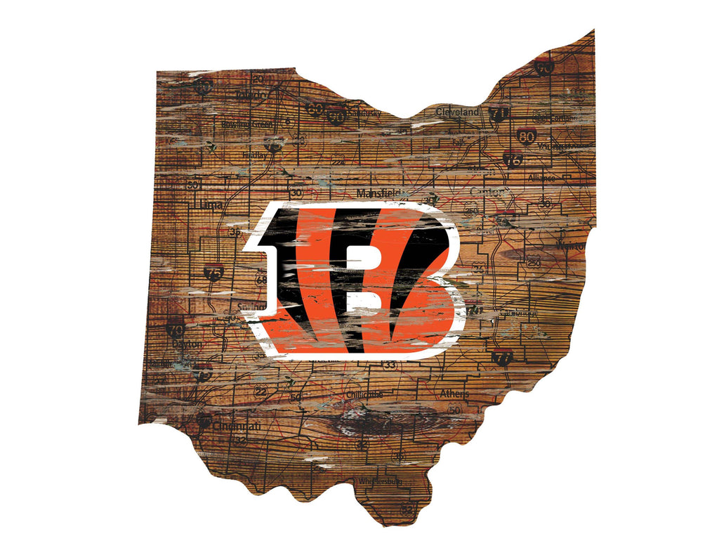 "Cincinnati Bengals Distressed State with Logo 24"" Wall Art"