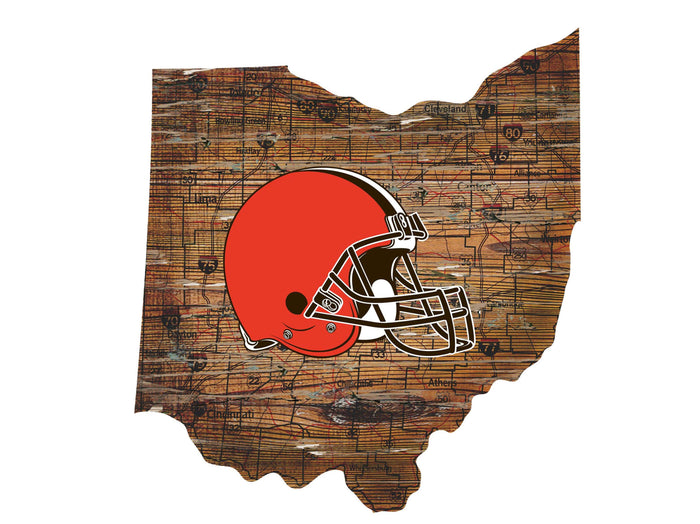 "Fan Cave Rugs:Cleveland Browns Distressed State with Logo 24"" Wall Art"