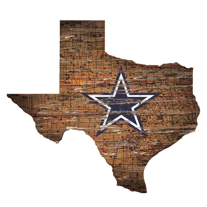 "Fan Cave Rugs:Dallas Cowboys Distressed State with Logo 24"" Wall Art"