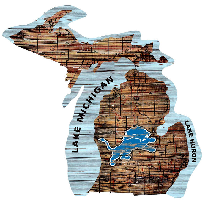 "Detroit Lions Distressed State with Logo 24"" Wall Art - Fan Cave Rugs"