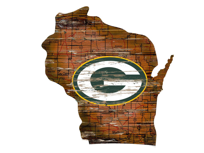 "Green Bay Packers Distressed State with Logo 24"" Wall Art"