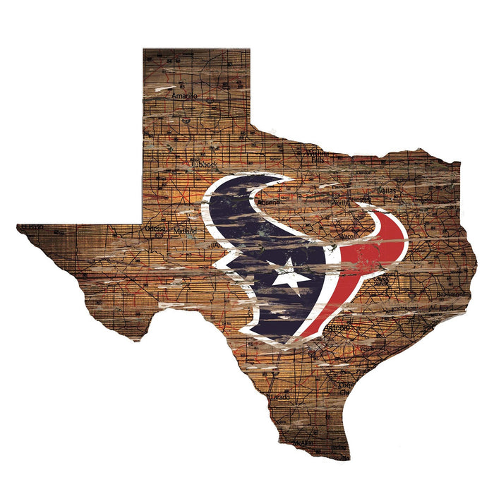 "Houston Texans Distressed State with Logo 24"" Wall Art"