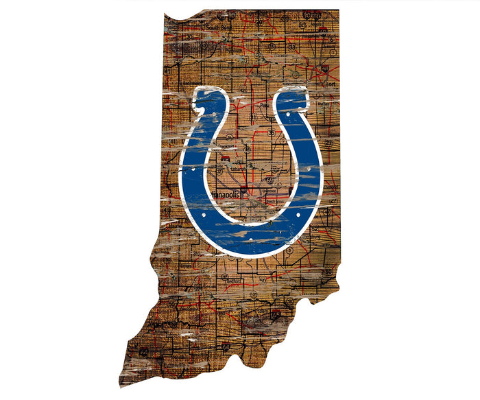 "Indianapolis Colts Distressed State with Logo 24"" Wall Art"