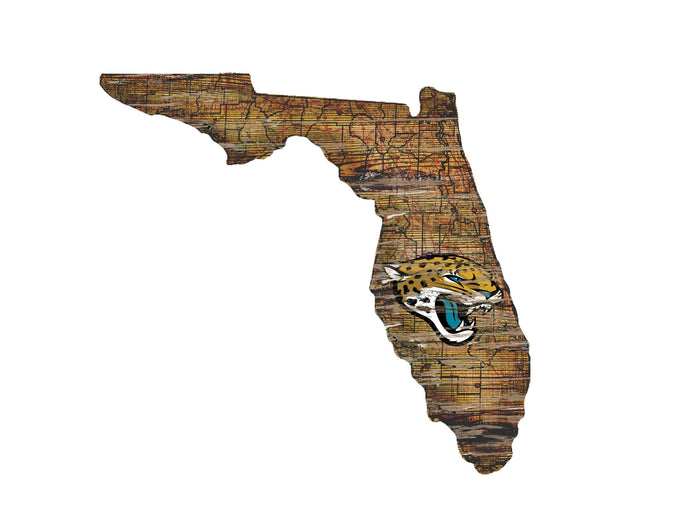"Jacksonville Jaguars Distressed State with Logo 24"" Wall Art"