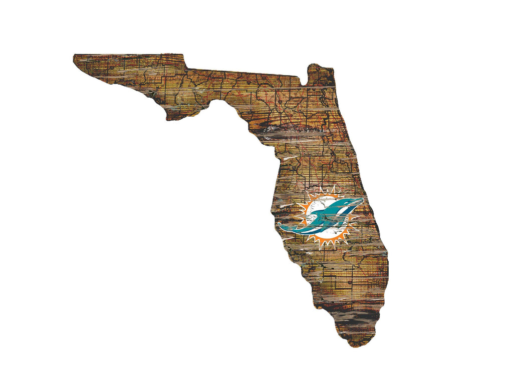 "Miami Dolphins Distressed State with Logo 24"" Wall Art"