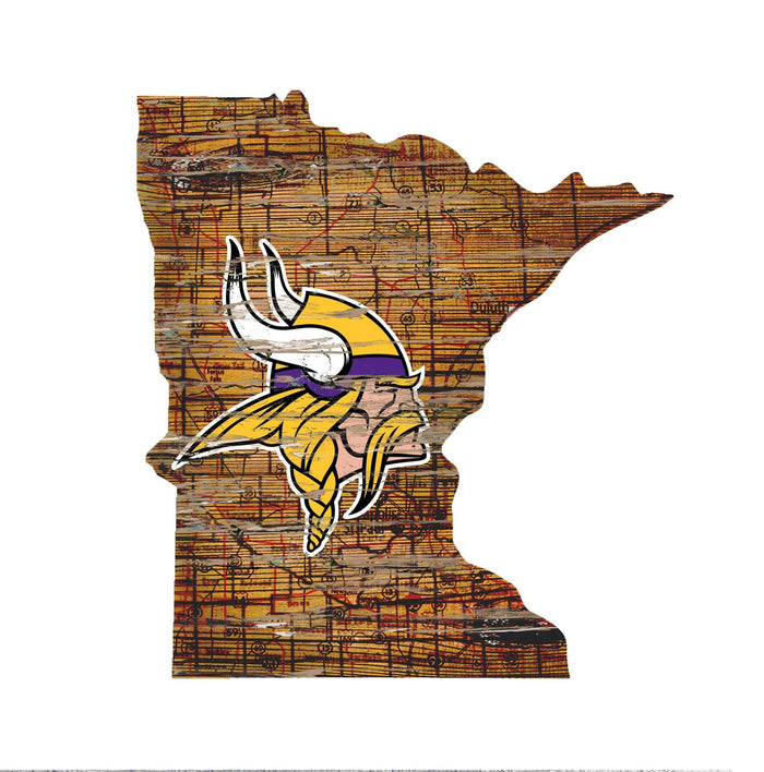 "Minnesota Vikings Distressed State with Logo 24"" Wall Art - Fan Cave Rugs"