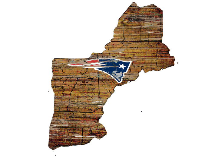 "New England Patriots Distressed State with Logo 24"" Wall Art"
