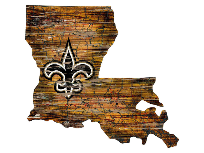 "New Orleans Saints Distressed State with Logo 24"" Wall Art - Fan Cave Rugs"