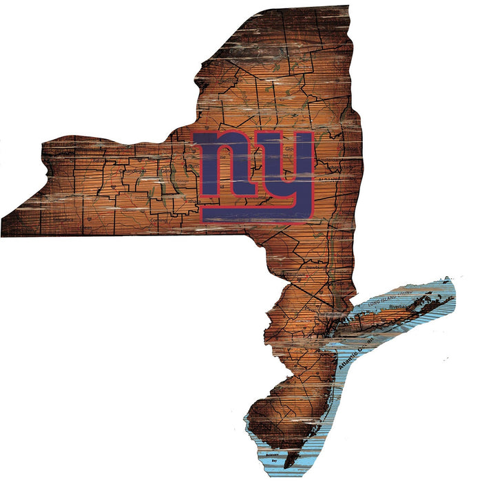 "New York Giants Distressed State with Logo 24"" Wall Art"